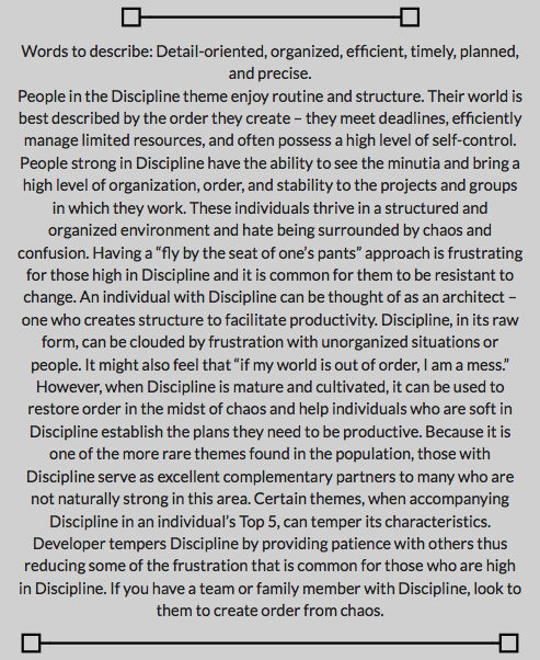 Discipline Description