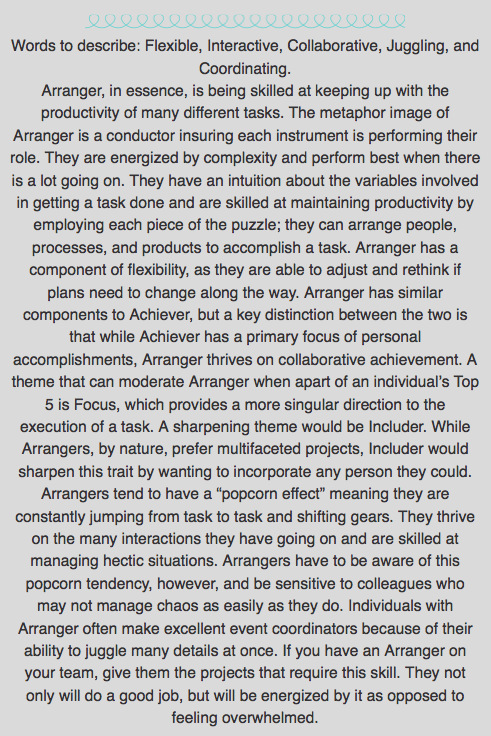 Arranger Description